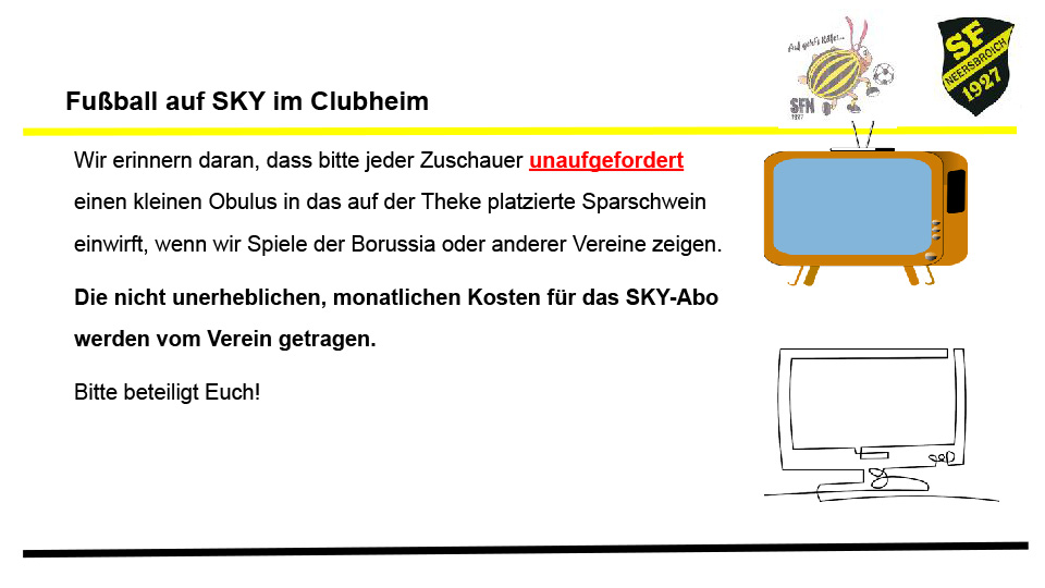 Fußball auf SKY im Clubheim