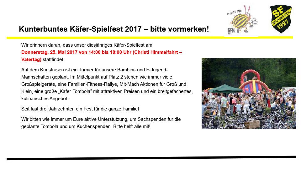Kunterbuntes Käfer-Spielfest 2017 – bitte vormerken!