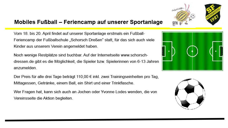 Mobiles Fußball – Feriencamp auf unserer Sportanlage