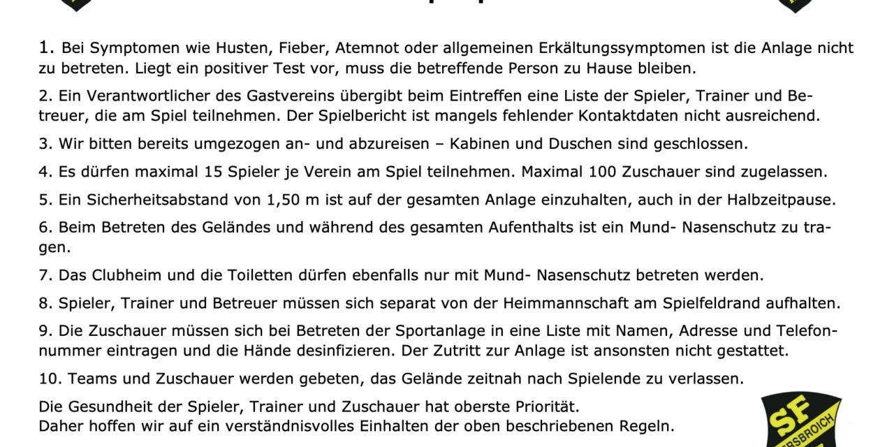 Aktuelle Corona-Richtlinien Sportplatz Neersbroich